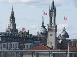 Konstanz, Blick von Fussgängerbrücke (Gleisüberquerung) auf Innenstadt